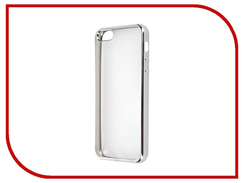 Аксессуар Чехол SkinBox для APPLE iPhone 5/5S/5SE Silicone Chrome border 4People Silver T-S-AI5-006<br>