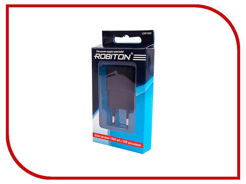 Зарядное устройство Robiton USB1000 1000mA USB BL1 Black<br>