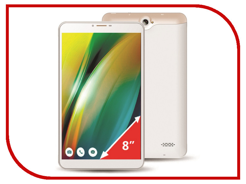 Планшет Ginzzu GT-8010 White (Spreadtrum SC9830 1.3 GHz/1024Mb/16Gb/LTE/GPS/Cam/8/1280x800/Android)<br>