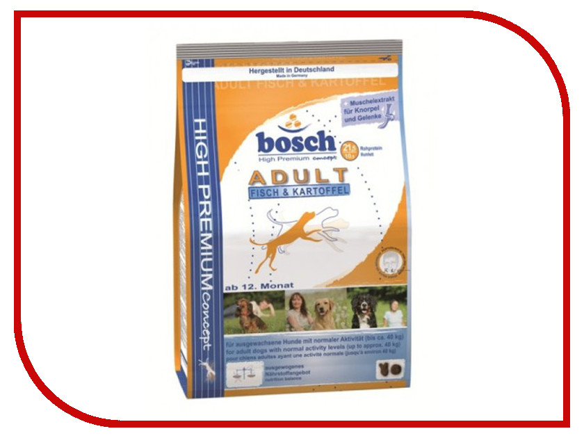 Корм Bosch Tiernahrung Эдалт Рыба/Картофель 3kg для собак 002073 корм для собак всех пород ориджен эдалт цыпленок индейка рыба меш 13 кг