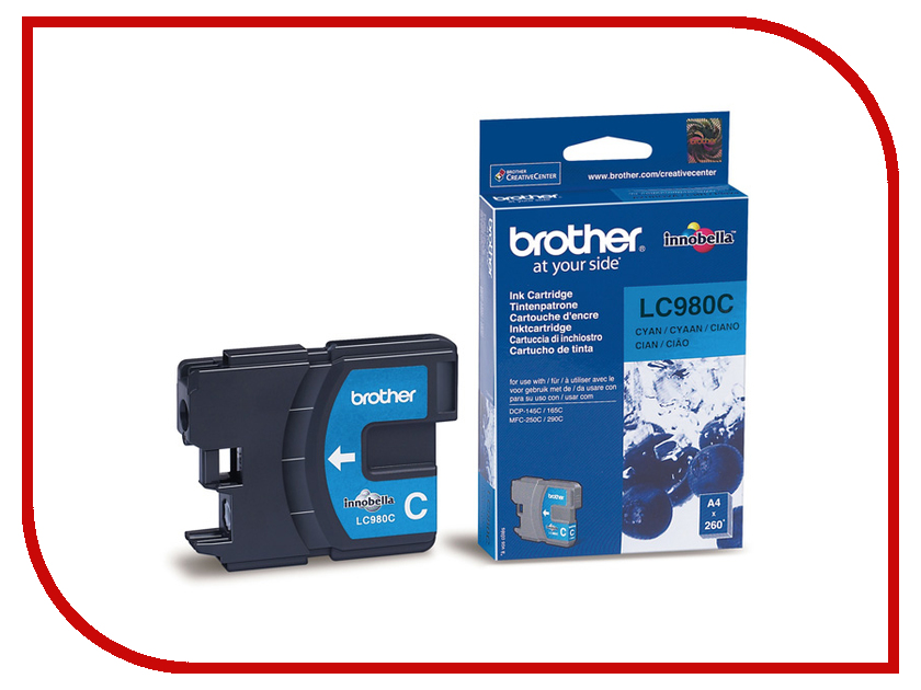 Картридж Brother LC980C Cyan для DCP-145C/165/195C/375CW/MFC-250C/290C<br>