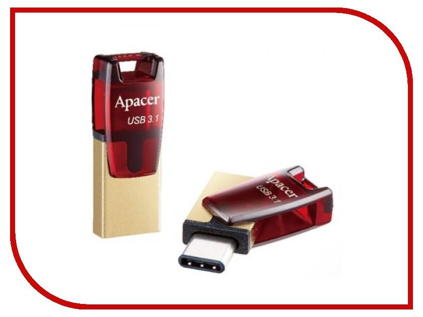 USB Flash Drive 64Gb - Apacer Type-C OTG AH180 Red AP64GAH180R-1<br>