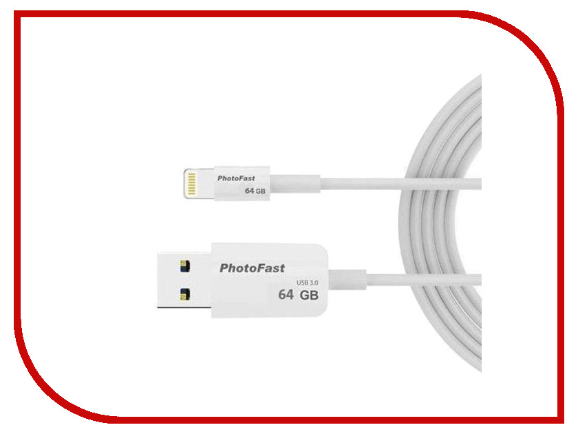 USB Flash Drive 64Gb - PhotoFast PhotoBackup Cable 1m USB 3.0 / Lightning PBCU364GB<br>