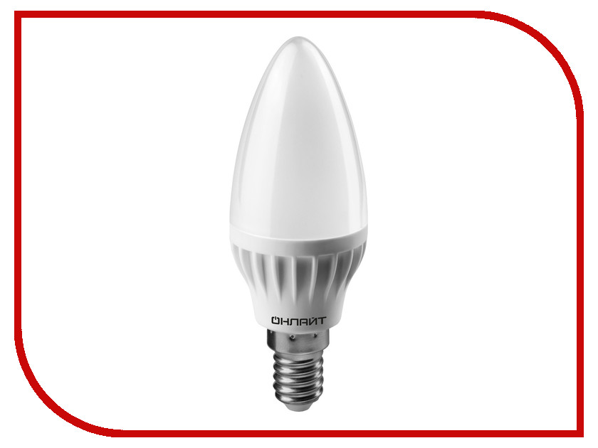 Лампочка ОнЛайт 71 632 OLL-C37-8-230-2.7K-E14-FR<br>