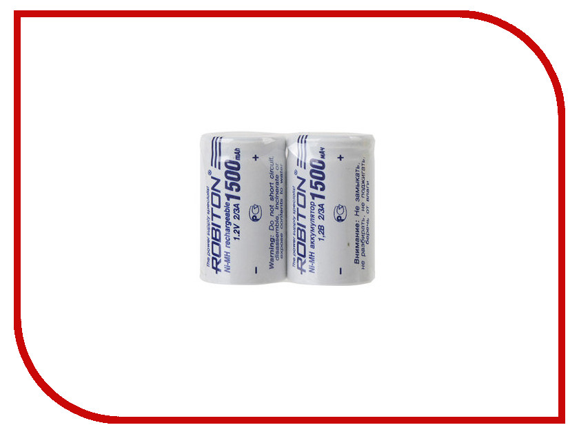 Аккумулятор 2/3A - Robiton 1500 mAh 1500MH2/3A-2 SR2 13800 (2 штуки)<br>