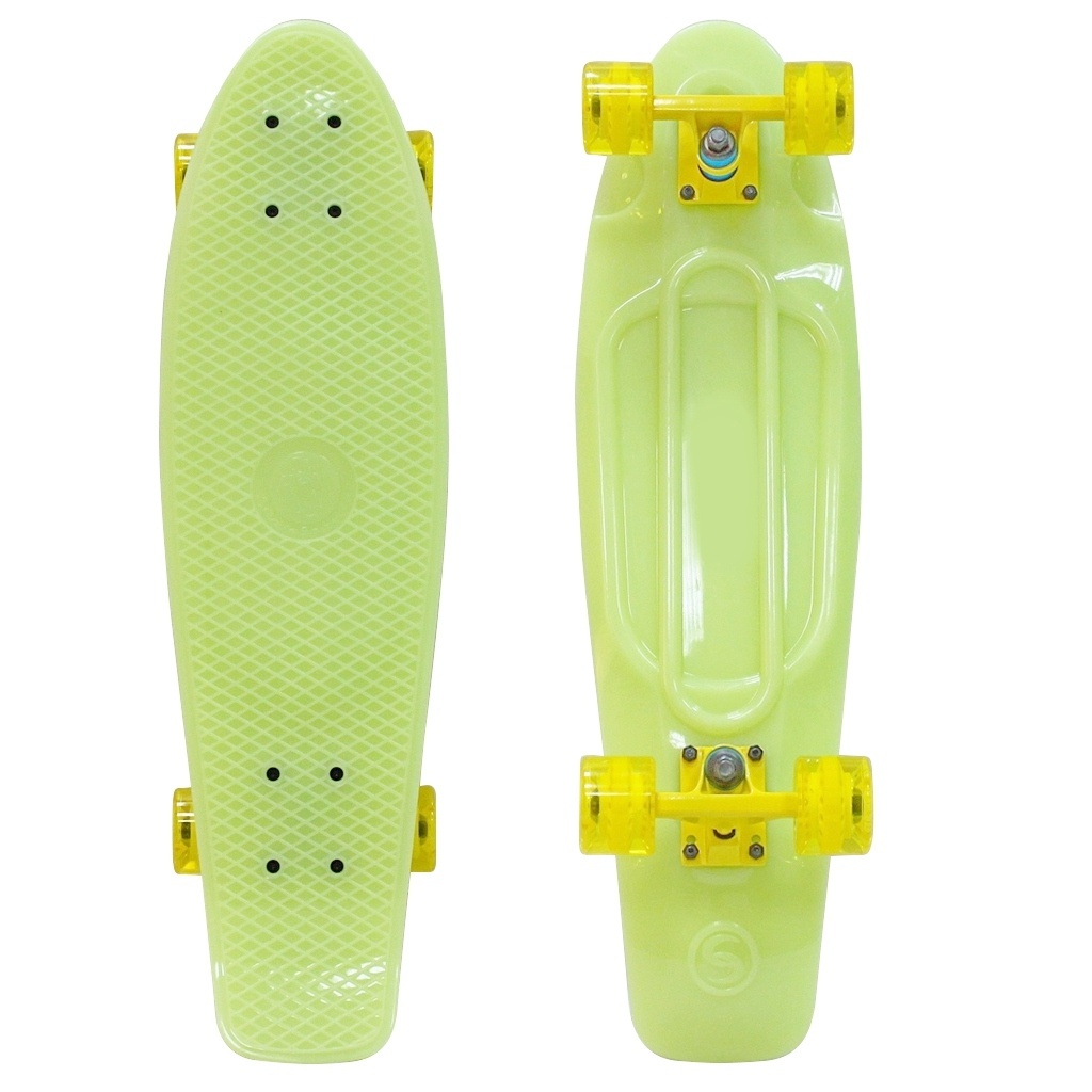 Скейт Y-Scoo Big Fishskateboard Glow 27 Yellow-Yellow 402E-Y скейт y scoo big fishskateboard 27 purple green 402 pr