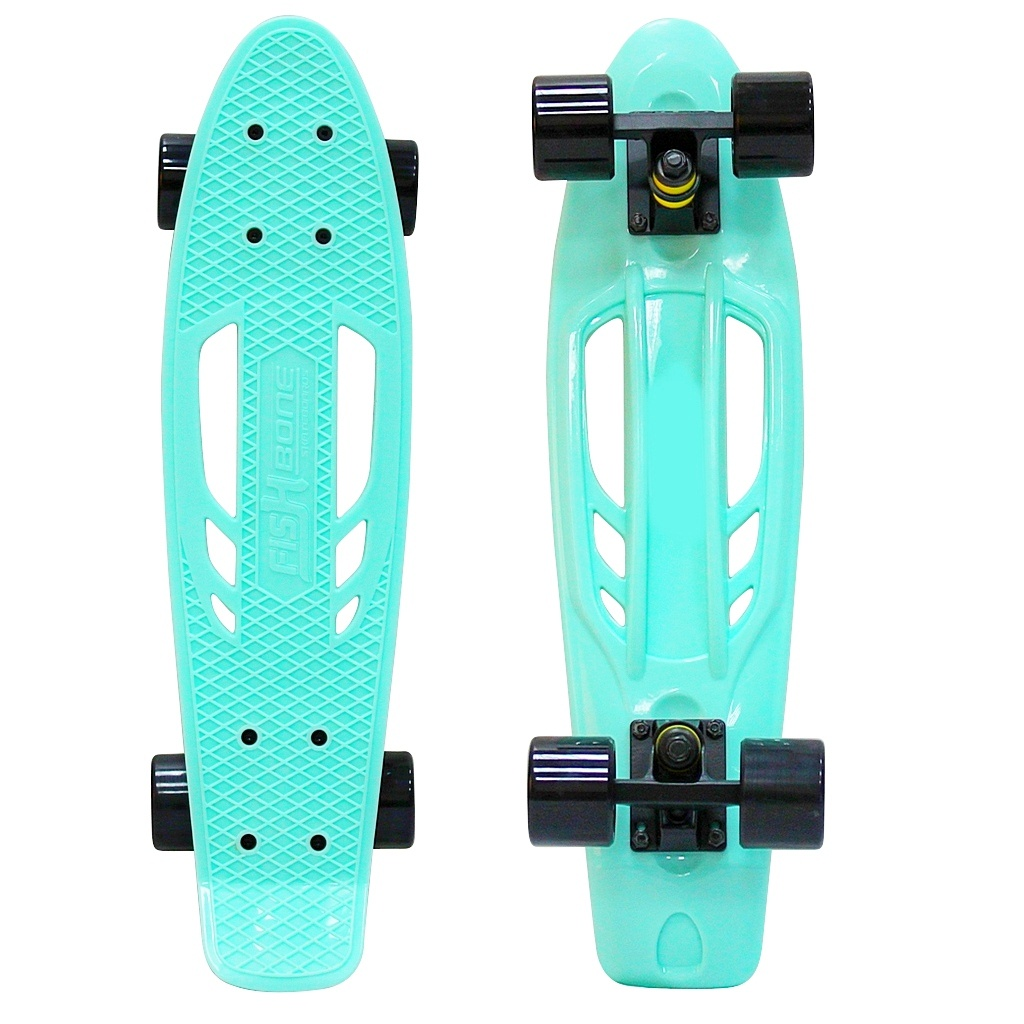Скейт Y-Scoo Skateboard Fishbone 22 Aqua-Black 405-A скейт y scoo big fishskateboard 27 purple green 402 pr