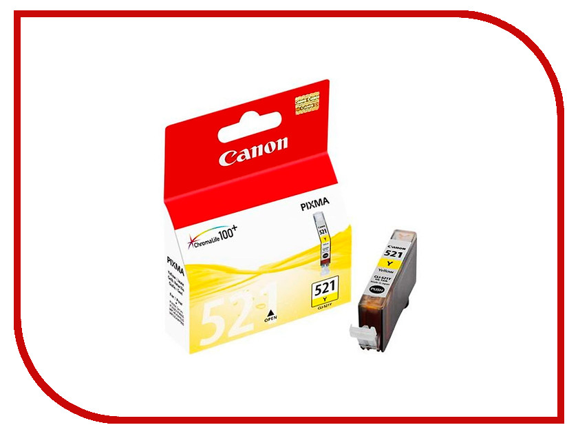 Картридж Canon CLI-521Y Yellow 2936B004 картридж струйный canon cli 521y 2936b004 желтый для canon ip3600 4600 4700 mp540 550 560 620 630 640 980 990 mx860