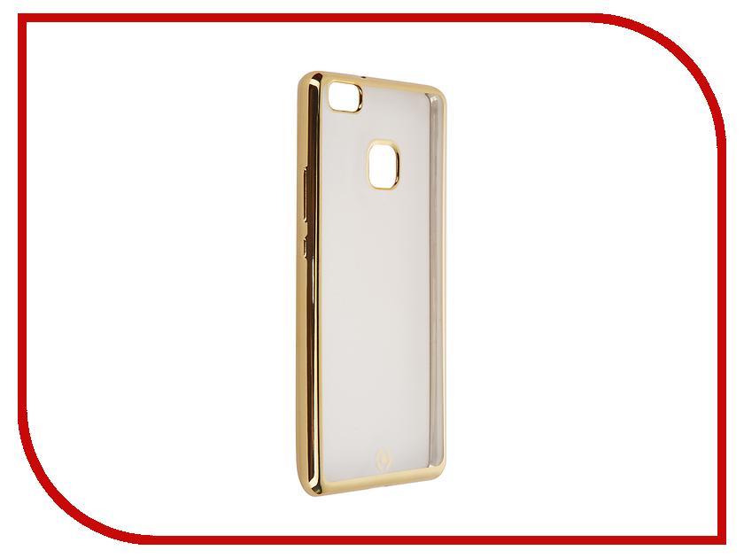 Аксессуар Чехол Huawei P9 Lite Celly Laser Transparent-Gold BCLP9LITEGD