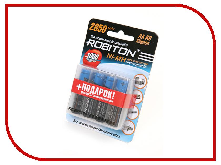 Аккумулятор AA - Robiton 2850 mAh 2850MHAA-4/box BL4 (4 штуки) аккумулятор aa robiton 2850 mah ni mh 2 штуки