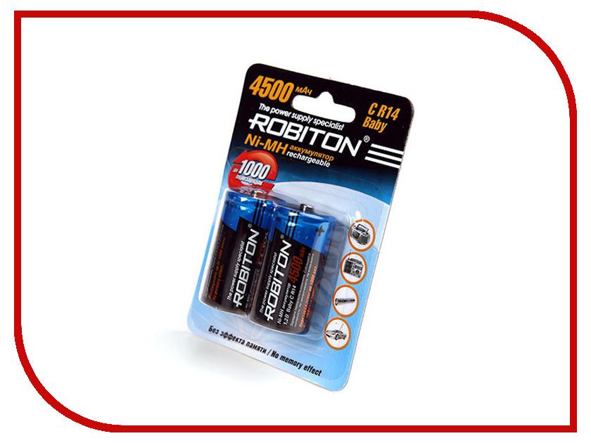 Аккумулятор C - Robiton R14 4500 mAh 4500MHC-2 BL2 NiMH (2 штуки) аккумулятор aaa robiton 1050 mah rtu1050mh 2 bl2 13117 2 штуки mh1050aaa