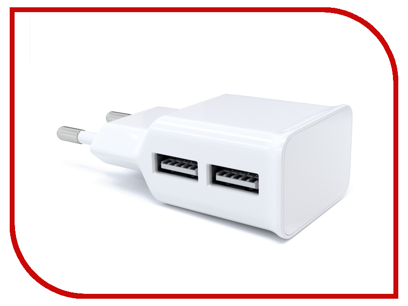 Зарядное устройство Red Line NT-2A 2xUSB 2.1A White зарядное устройство red line nt 2a 2xusb 2 1a кабель black