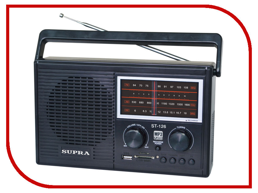 Радиоприемник SUPRA ST-126 Black наборы декоративной косметики bell bell товар спайка флюид derma young foundation т4 лак для ногтей fashion colour nail т308 т323