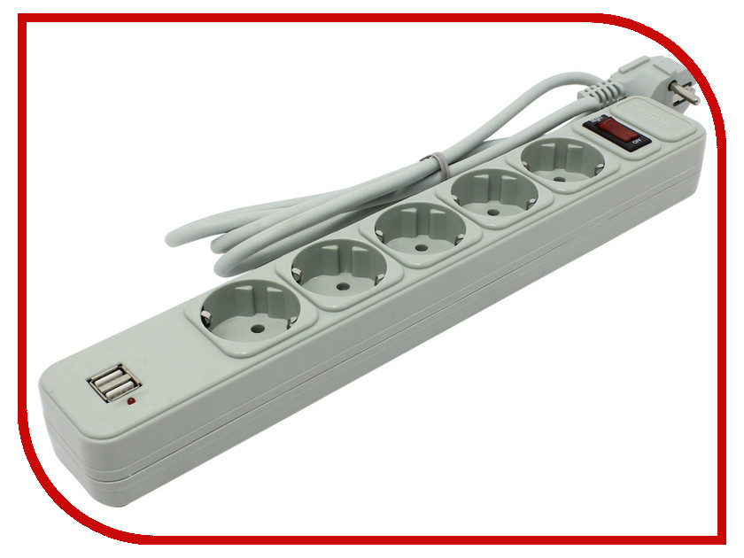 Сетевой фильтр ExeGate SP-5-USB-1.8G 1.8m Grey 221192