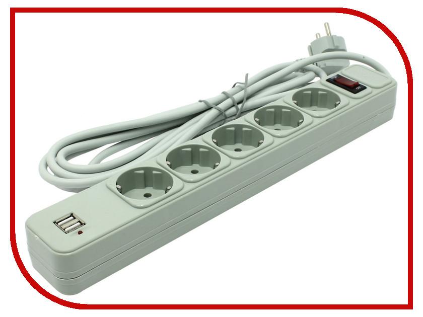 Сетевой фильтр ExeGate SP-5-USB-3G 3m Grey 221195