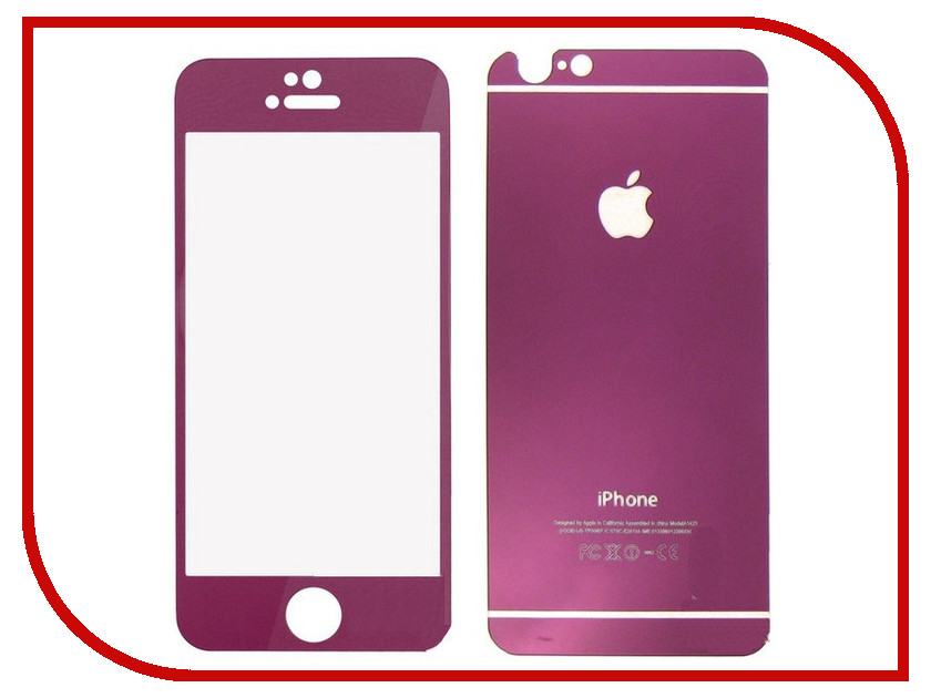 Аксессуар Защитное стекло Krutoff Front &amp; Back для iPhone 6/6S Purple 21623<br>