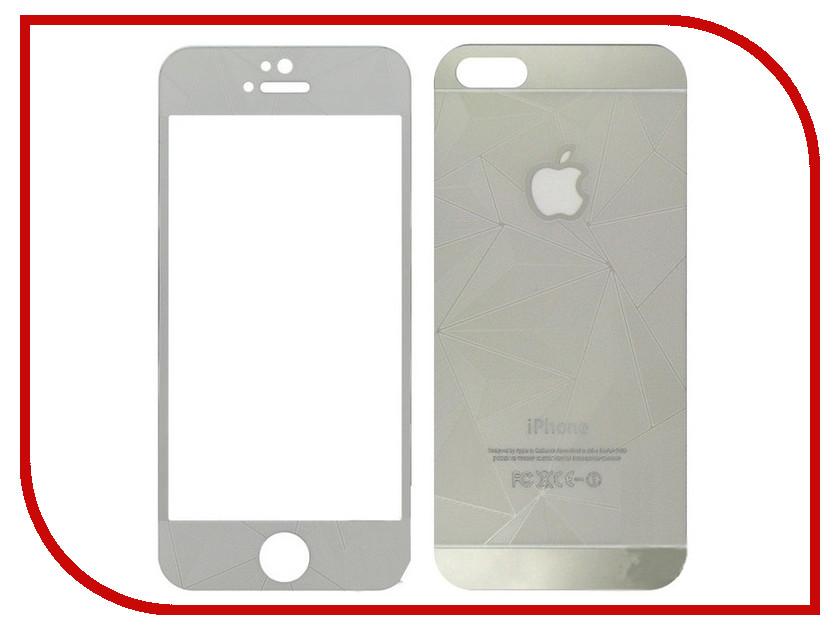 Аксессуар Защитное стекло Krutoff Front &amp; Back для iPhone 5 / 5S / SE 3D Silver 21656<br>
