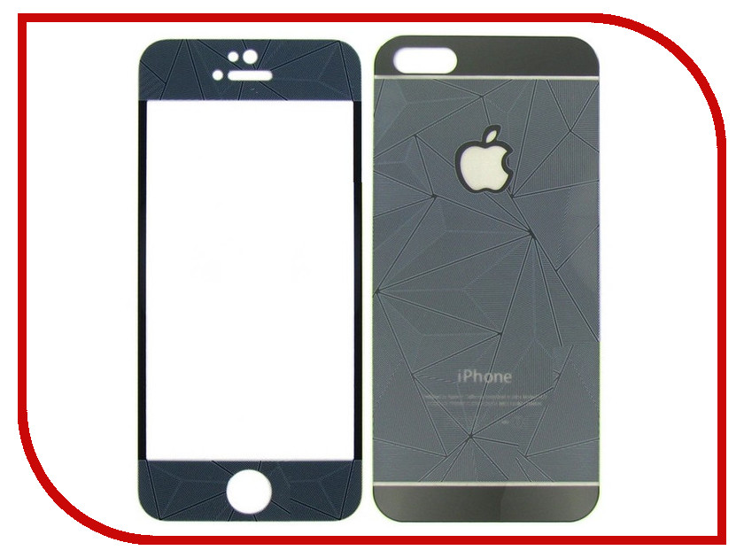 Аксессуар Защитное стекло Krutoff Front &amp; Back для iPhone 5/5S 3D Black 21655<br>