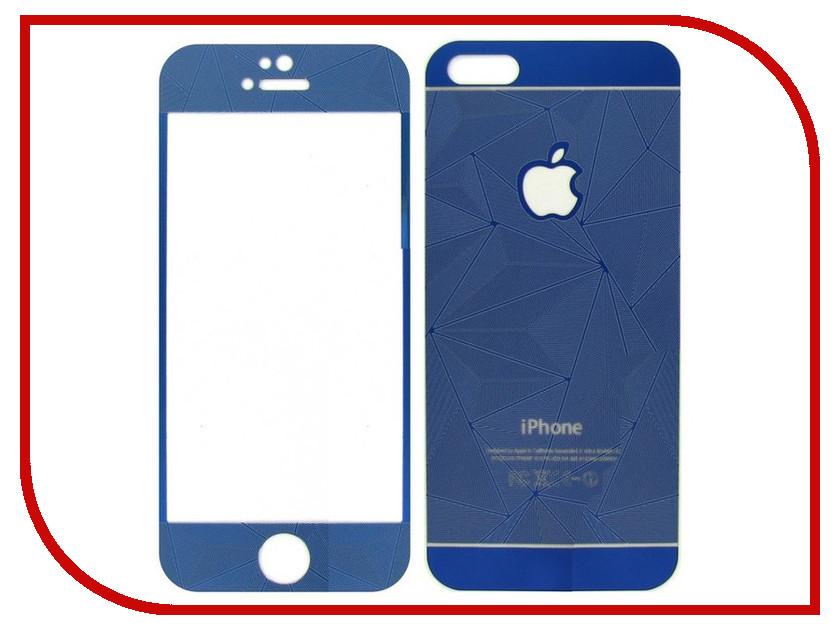 Аксессуар Защитное стекло Krutoff Front &amp; Back для iPhone 5/5S 3D Blue 21659<br>