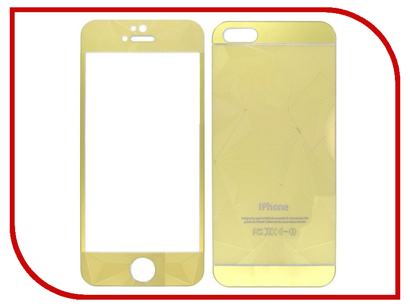 Аксессуар Защитное стекло Krutoff Front &amp; Back для iPhone 6/6S 3D Gold 21662<br>