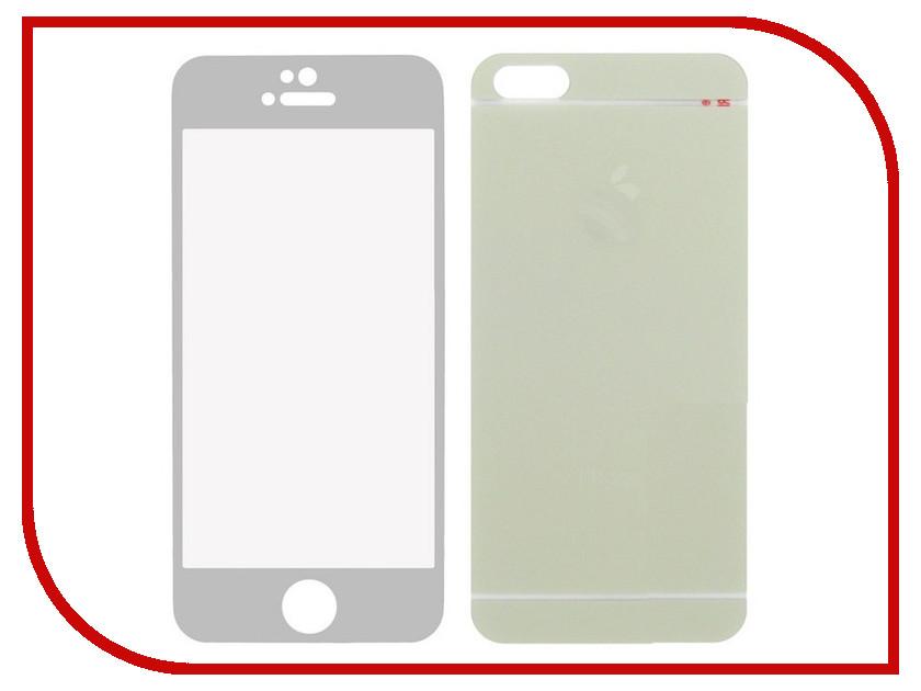 Аксессуар Защитное стекло Krutoff Front &amp; Back для iPhone 5/5S Frosted Silver 21643<br>
