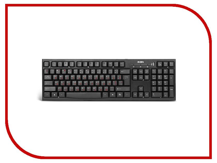 Клавиатура Sven Standard 304 Black USB + HUB SV-03100304UB