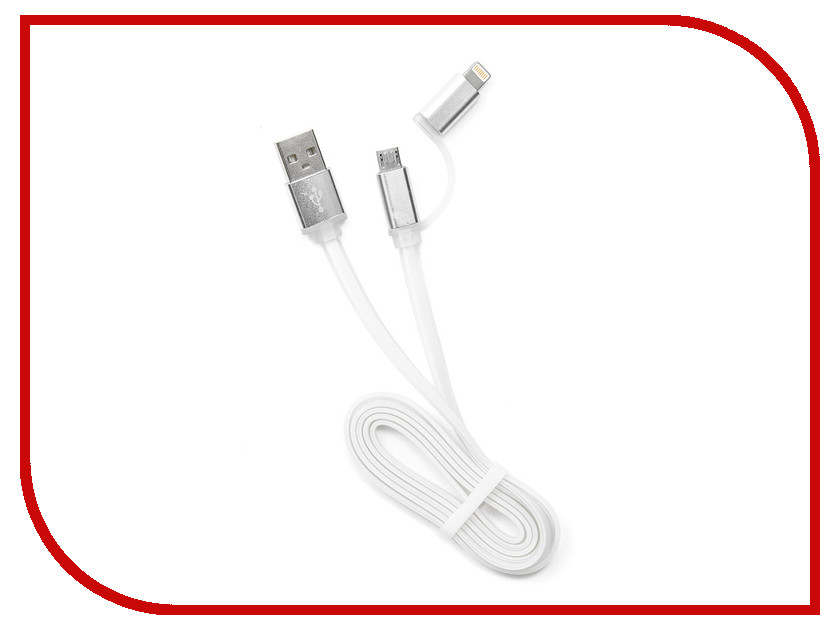 Аксессуар Gembird Cablexpert USB AM/microBM 5P to iPhone Lightning 1m White CC-mAPUSB2w1m кабель usb 2 0 am microbm 1м gembird золотистый металлик cc musbgd1m