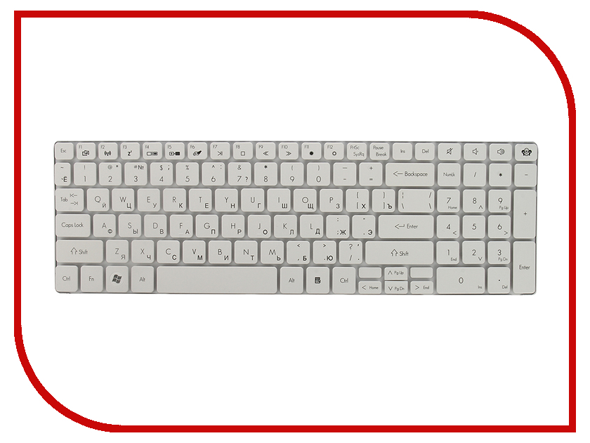 Клавиатура TopON TOP-100013 для Packard Bell TM81 / TM86 / TM87 / TM89 / TM94 / TM98 Series White