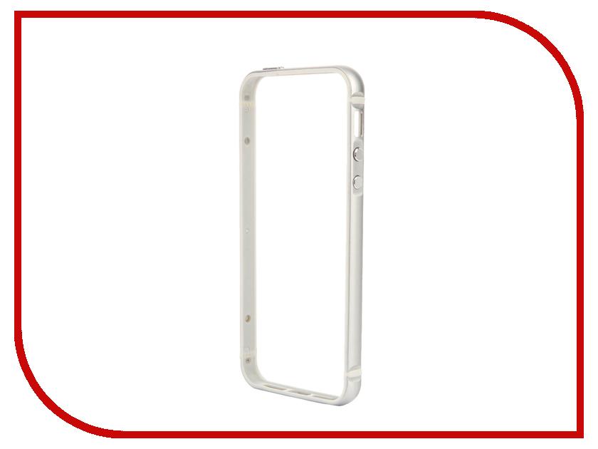 Аксессуар Чехол-бампер BROSCO для iPhone 5 / 5S Silver IP5-BUMPER-SILVER<br>
