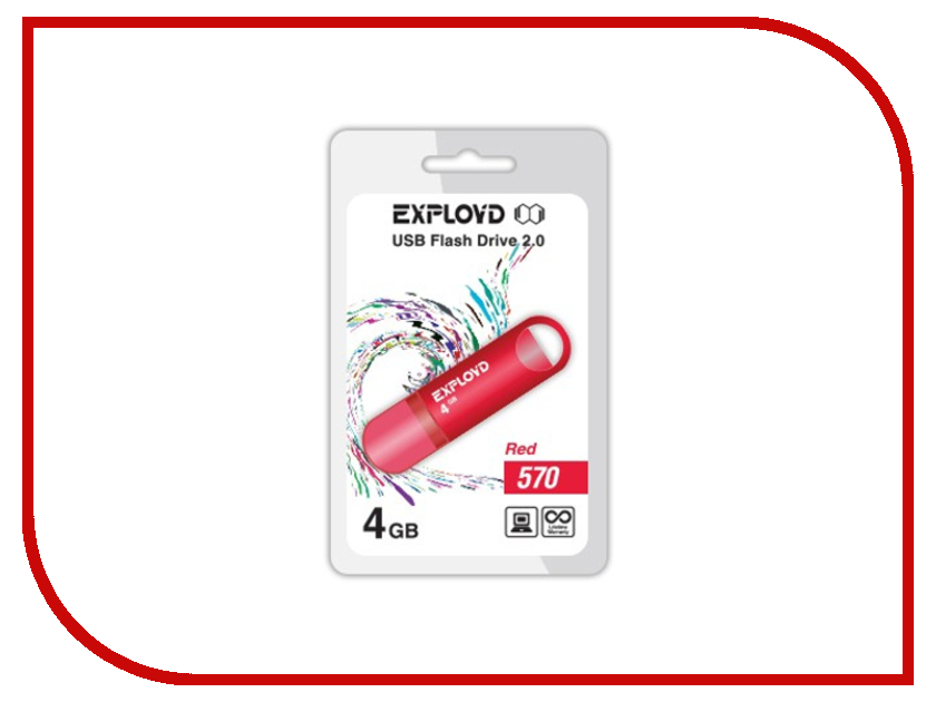 цены на USB Flash Drive 4Gb - Exployd 570 Red EX-4GB-570-Red в интернет-магазинах