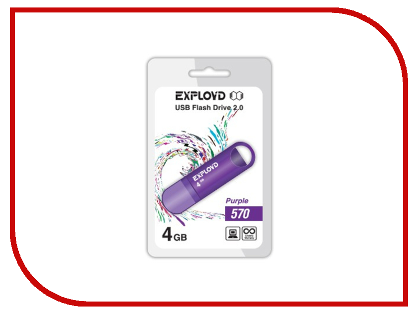 USB Flash Drive 4Gb - Exployd 570 Purple EX-4GB-570-Purple<br>