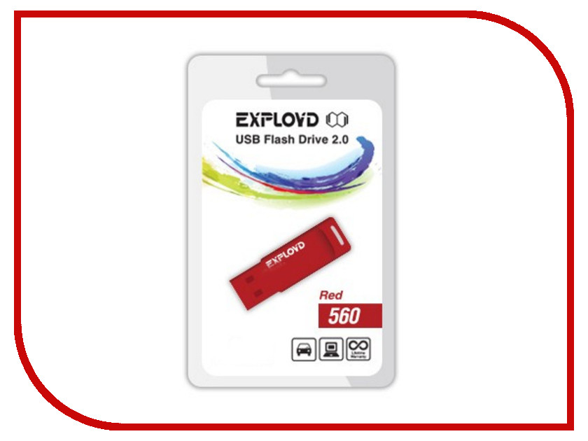 USB Flash Drive 4Gb - Exployd 560 Red EX-4GB-560-Red<br>