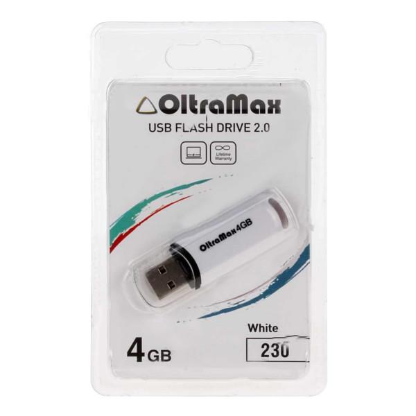 USB Flash Drive 4Gb - OltraMax 230 White OM-4GB-230-White