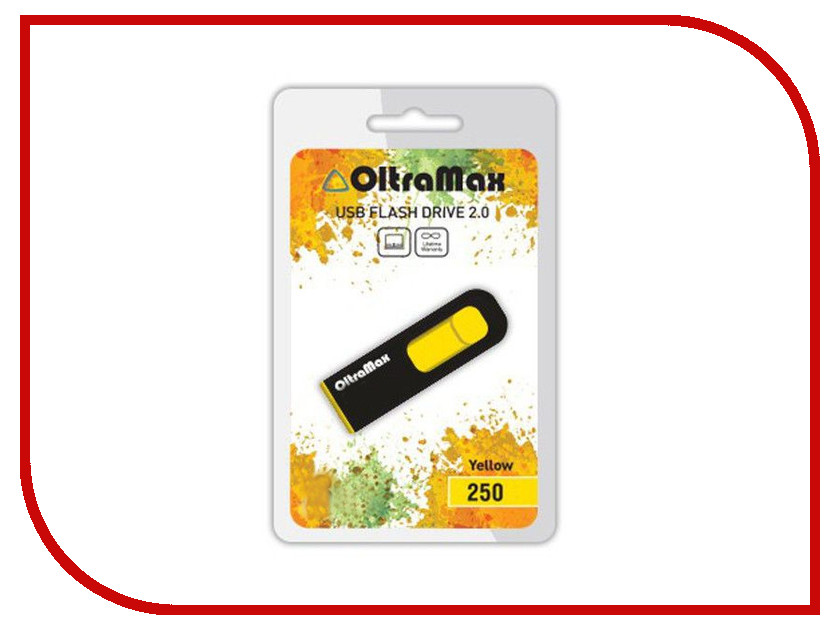 USB Flash Drive 64Gb - OltraMax 250 Yellow OM-64GB-250-Yellow<br>