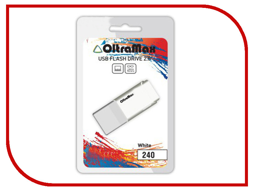 USB Flash Drive 64Gb - OltraMax 240 White OM-64GB-240-White<br>