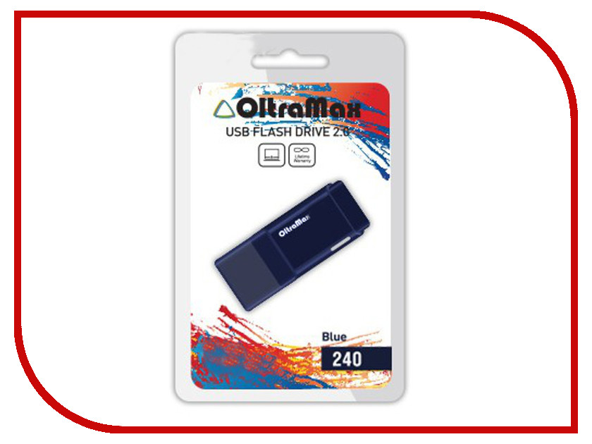 USB Flash Drive 64Gb - OltraMax 240 Blue OM-64GB-240-Blue<br>