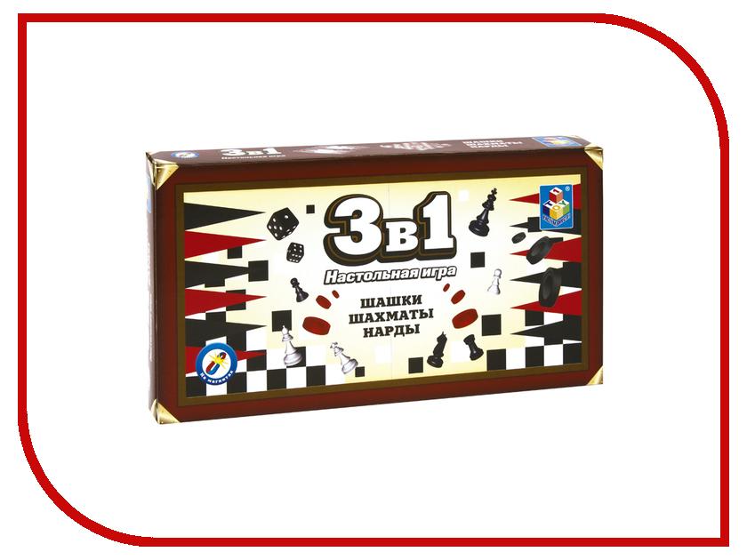 Настольная игра 1Toy 3в1 Шашки, шахматы, нарды Т52450 настольная игра 1toy бильярд т52443