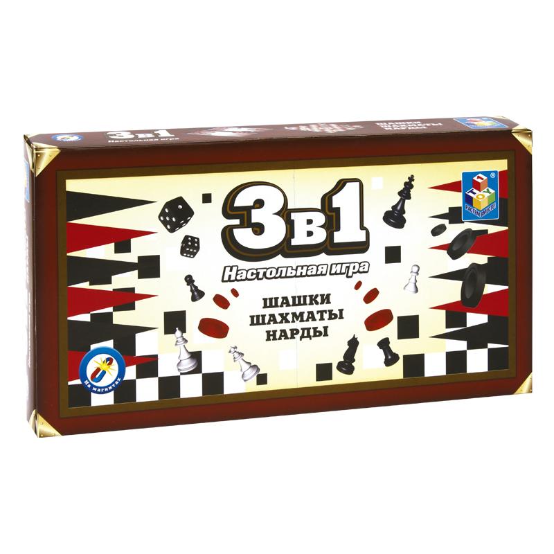 Игра 1Toy 3в1 Шашки, шахматы, нарды Т52450 настольная игра 1toy набор игр шашки шахматы нарды карты на магнитах т52451