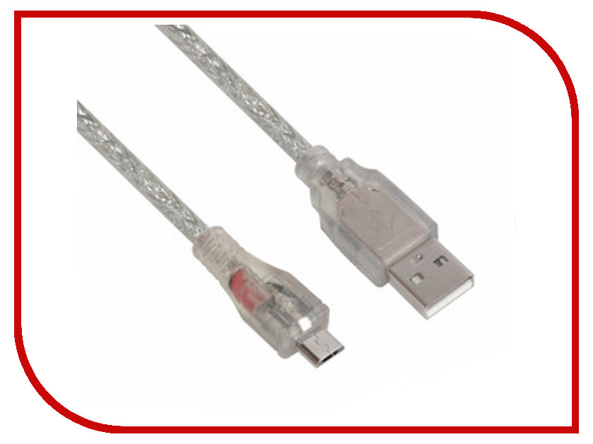 Аксессуар Greenconnect Premium USB 2.0 AM-Micro B 5pin 1.8m Transparent GCR-UA2MCB2-BD2S-1.8m<br>