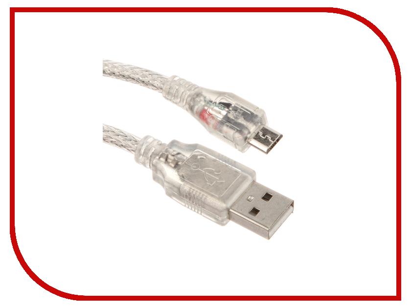 Аксессуар Greenconnect Premium USB 2.0 AM-Micro B 5pin 2.0m Transparent GCR-UA2MCB2-BD2SG-2.0m