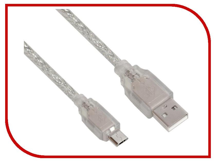 Аксессуар Greenconnect Premium USB 2.0 AM-Micro B 5pin 3.0m Transparent GCR-UA2MCB2-BD2SG-3.0m<br>