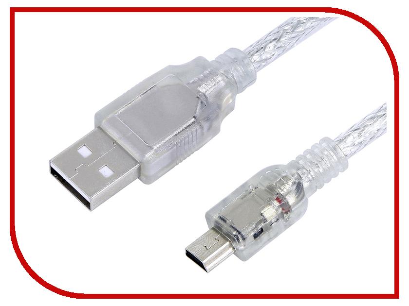 Аксессуар Greenconnect Premium USB 2.0 AM-mini 5pin 0.50m Transparent GCR-UM1M5P-BD2S-0.5m<br>