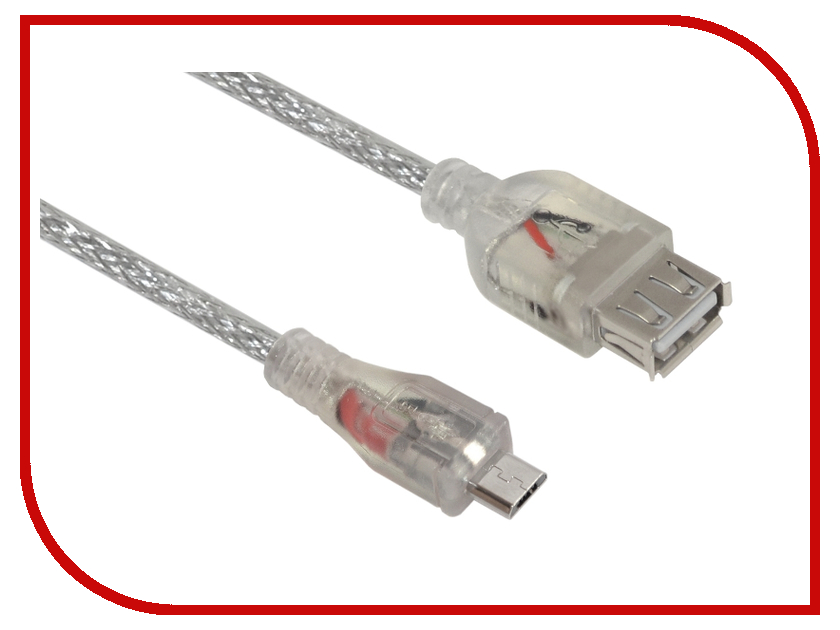 Аксессуар Greenconnect Premium OTG micro USB AM-AF 0.3m Transparent GCR-MB3AF-BD2S-0.3m<br>