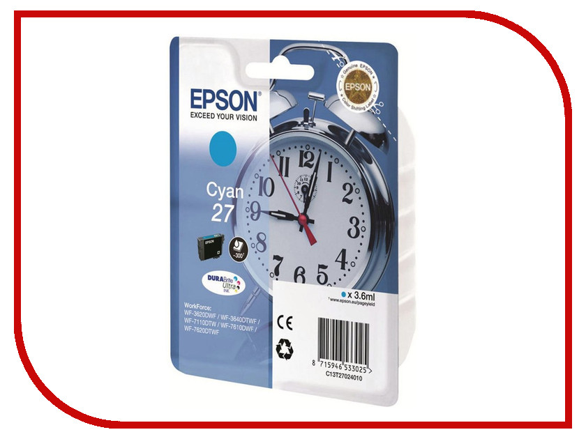 Картридж Epson T2702 C13T27024020 Cyan для WF-7110/7610/7620 картридж epson t3249 c13t32494010 orange для sc p400