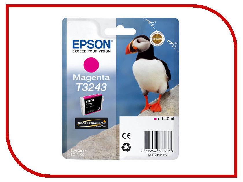 Картридж Epson T3243 C13T32434010 Magenta для SC-P400 картридж epson t3249 c13t32494010 orange для sc p400