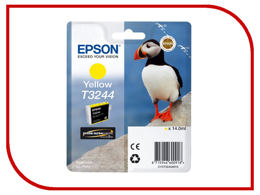 Картридж Epson T3244 C13T32444010 Yellow для SC-P400 картридж epson t009402 для epson st photo 900 1270 1290 color 2 pack