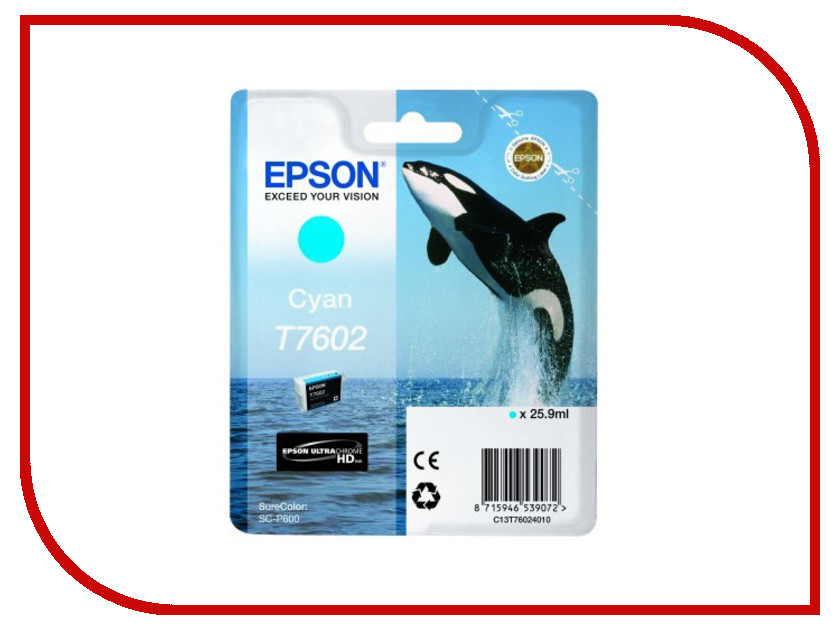 Картридж Epson T7602 C13T76024010 Cyan для SC-P600 картридж epson t3249 c13t32494010 orange для sc p400