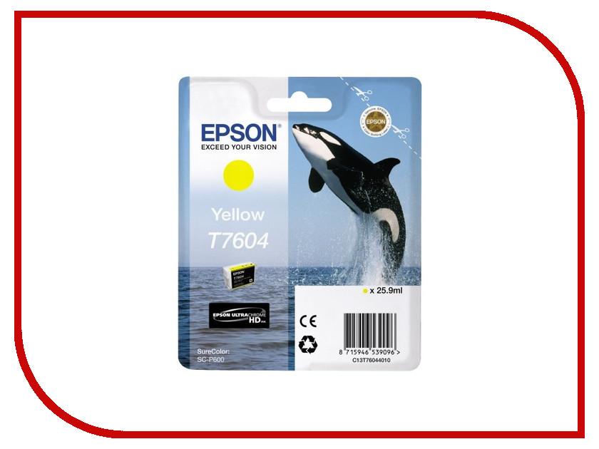 Картридж Epson T7604 C13T76044010 Yellow для SC-P600 картридж epson t3249 c13t32494010 orange для sc p400