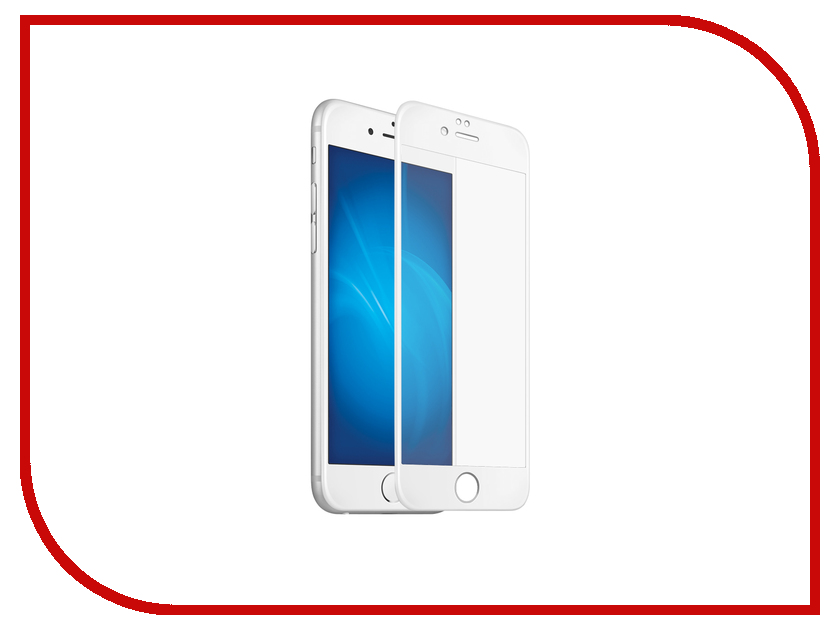 Аксессуар Закаленное стекло DF Fullscreen iColor-07 для iPhone 7 White<br>