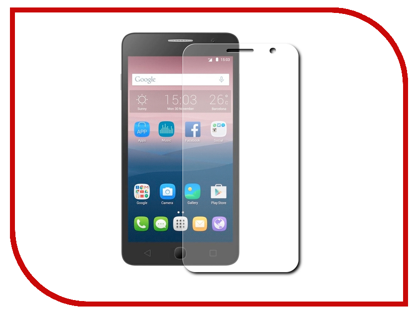 Аксессуар Защитная пленка Alcatel OneTouch 5070 Pop Star Red Line сотовый телефон alcatel onetouch 5070d pop star soft slate silver gold